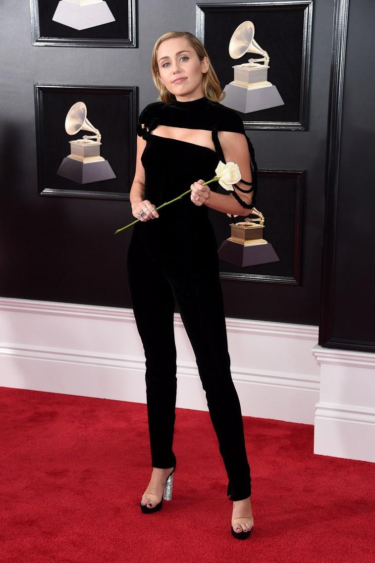 Miley in black jumpsuit